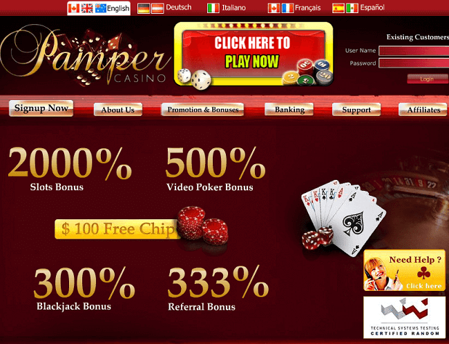 Pamper Casino Instant Play